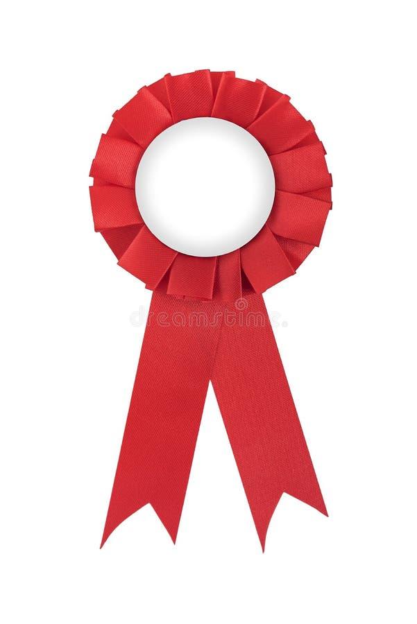 空白的红色得奖的丝带 库存图片