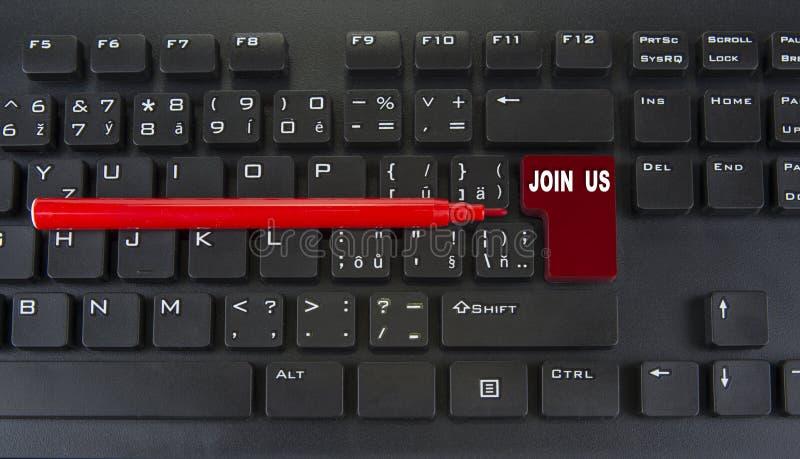 空白的红色键盘输入键  加入我们概念 免版税图库摄影