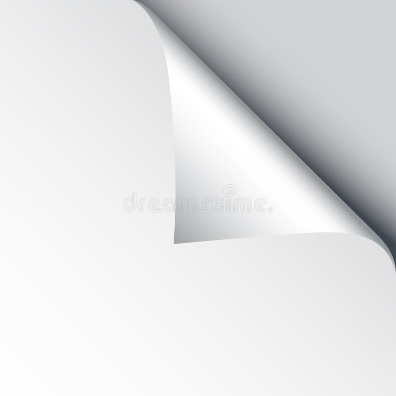 空白的纸片与页卷毛和阴影的,做广告的设计元素和在白色backgroun隔绝的增进消息 向量例证