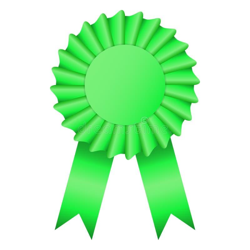 空白的绿色玫瑰华饰奖丝带 库存例证