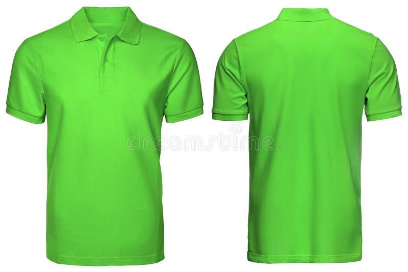空白的绿色球衣,前面和后面看法,隔绝了白色背景 设计球衣、模板和大模型印刷品的 免版税库存照片