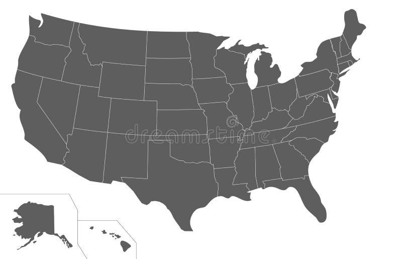 空白的美国映射在白色背景隔绝的传染媒介例证 向量例证