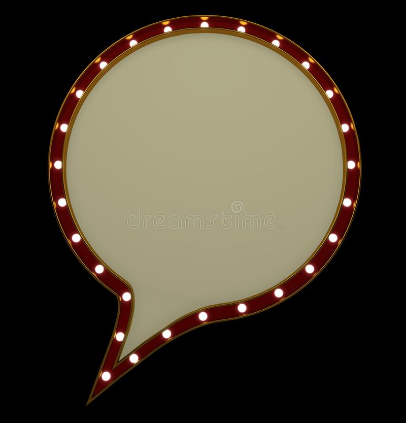 空白的葡萄酒电灯泡圆的大门罩框架 库存例证