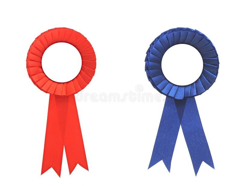 空白的蓝色和红色奖徽章 库存图片