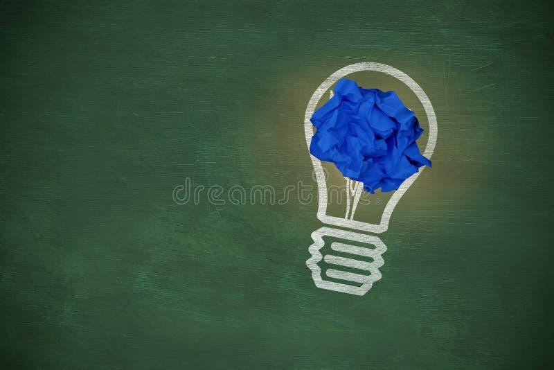 空白的蓝色特写镜头的综合图象弄皱了纸 免版税图库摄影