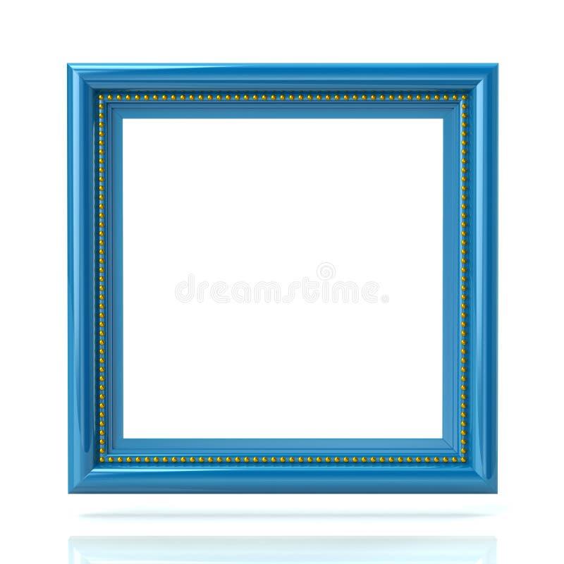 空白的蓝色相框模板3d例证 向量例证