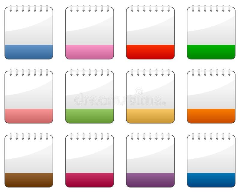 空白的被设置的日历五颜六色的象 库存例证