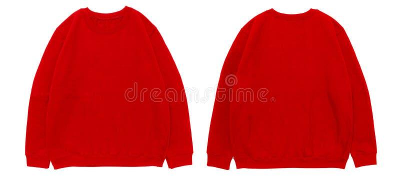 空白的运动衫颜色红色模板前面和后面视图 图库摄影