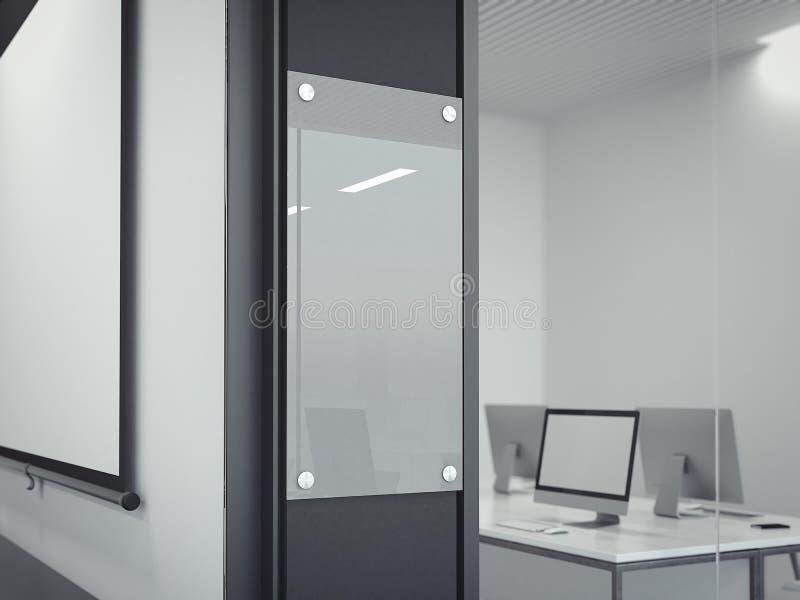 空白的透明玻璃标志板材 3d翻译 库存图片