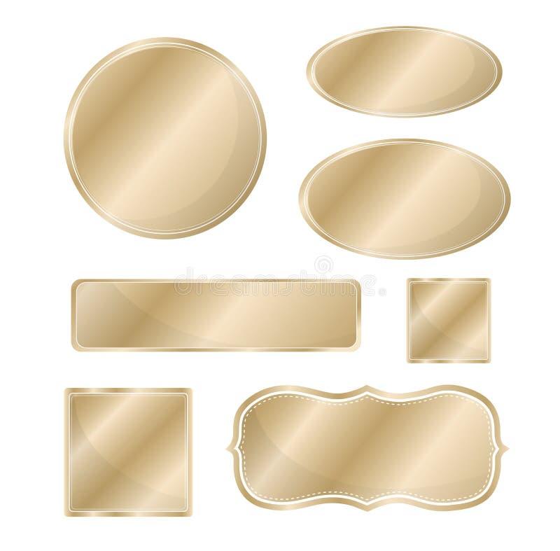 空白的金属象集合古铜 向量例证