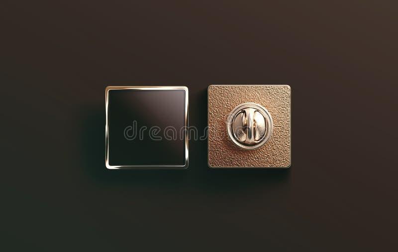 空白的金搪瓷别针黑色嘲笑,前面和后面 库存图片