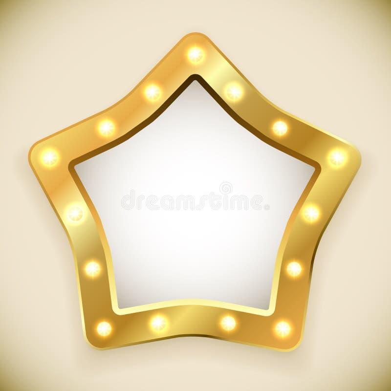 空白的金黄星框架 库存例证