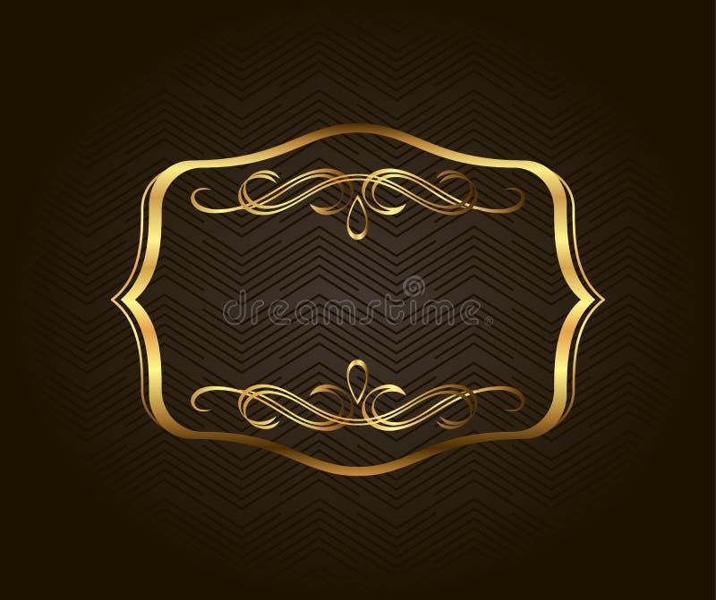 空白的金黄葡萄酒框架,横幅,标签,传染媒介EPS10 金子装饰与文本的地方 向量例证