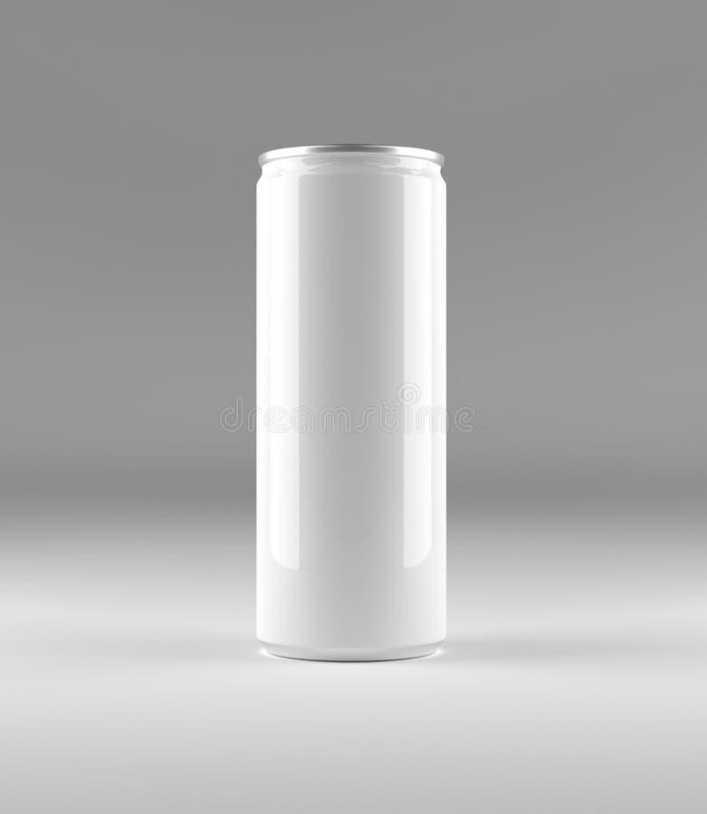 空白的铝罐,大模型在灰色背景与地方您的设计的和烙记 库存例证