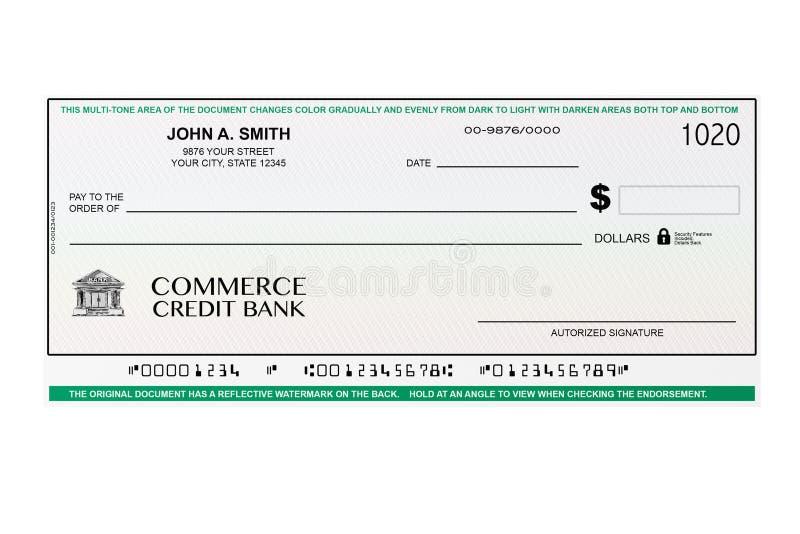 空白的银行支票 皇族释放例证