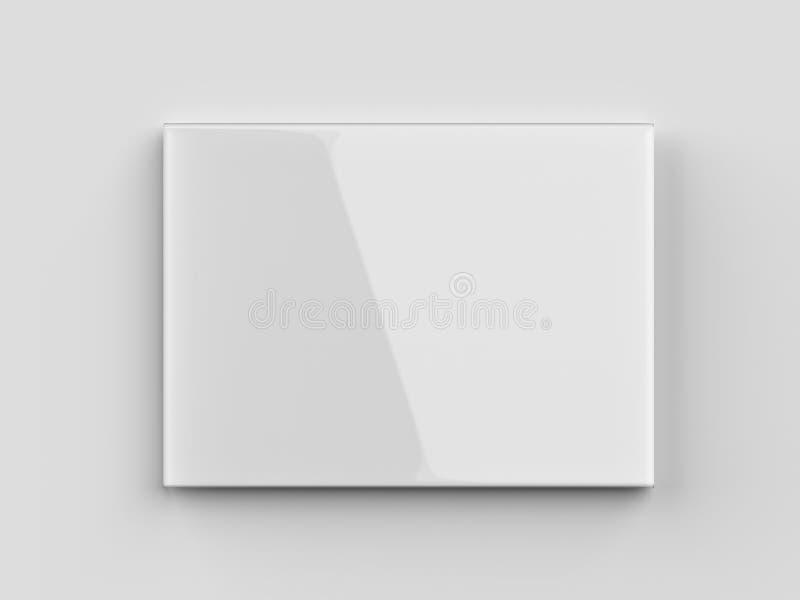 空白的镶嵌墙上的垂悬的标志持有人 3d回报illustrat 库存例证