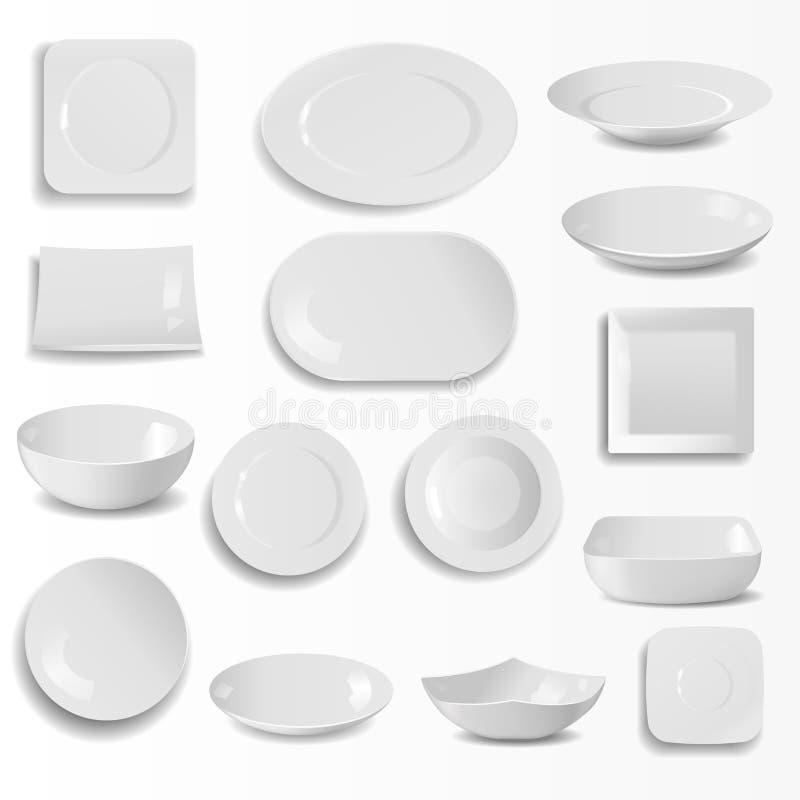 空白的陶瓷板材设置了烹调餐具圆的空的碗筷传染媒介例证的现实厨房盘模板 库存例证