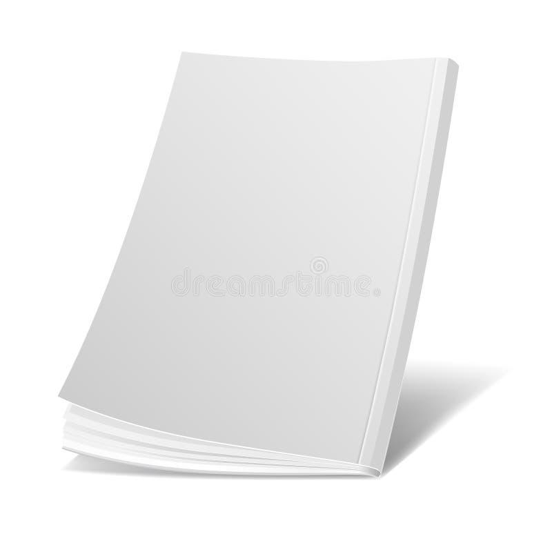 空白的飞行白色杂志封面,书,小册子,小册子传染媒介模板 向量例证