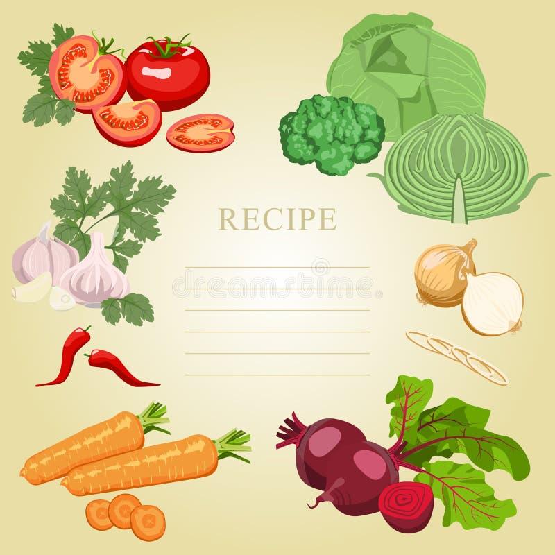 空白的食谱 设置蔬菜 皇族释放例证