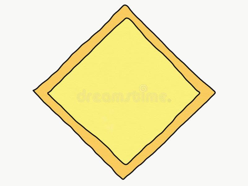 空白的黄色标志孤立,例证,文本的,水彩油漆样式拷贝空间抽象手凹道乱画正方形  图库摄影