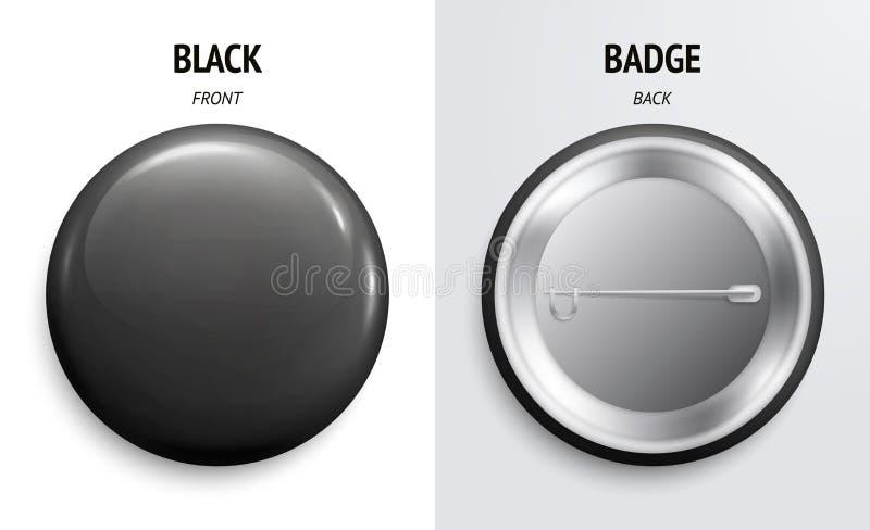 空白的黑光滑的徽章或按钮 3d回报 圆的塑料别针,象征,志愿标签 前面和后部 向量 向量例证