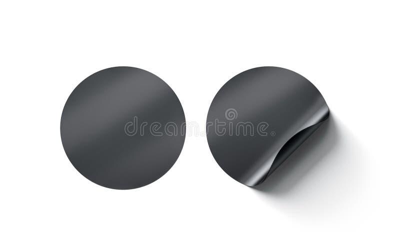 空白的黑圆的黏着性贴纸嘲笑与弯曲的角落 图库摄影