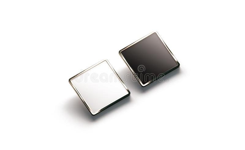 空白的黑白方形的金翻领徽章大模型 免版税库存图片