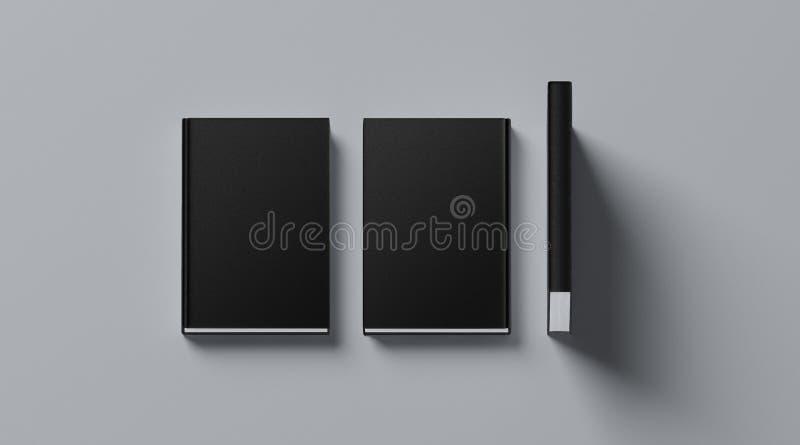 空白的黑组织的坚硬盖子书嘲笑,前面,脊椎 免版税库存图片