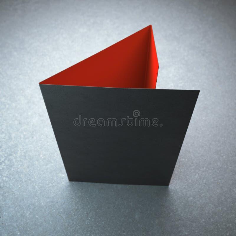 空白的黑三部合成的小册子 库存照片