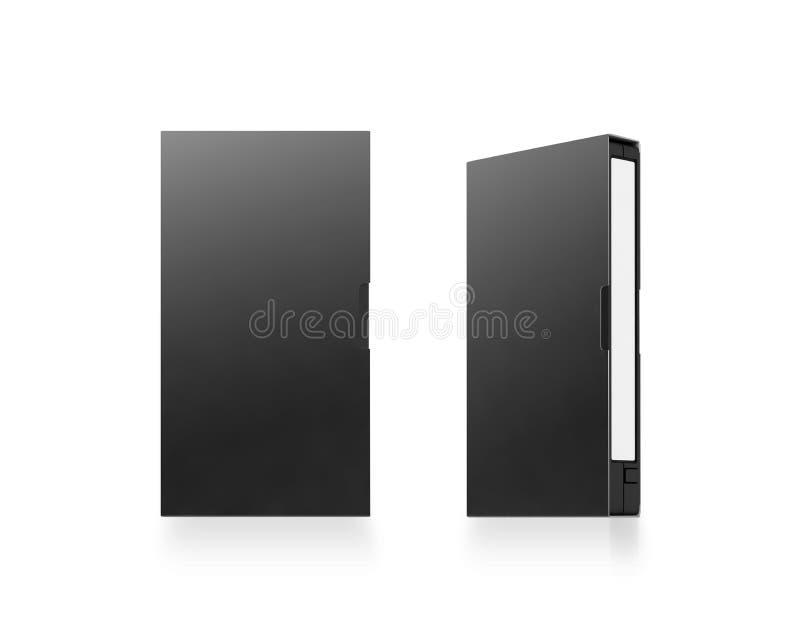 空白的黑录象带磁带箱子大模型,被隔绝, 3d翻译 皇族释放例证