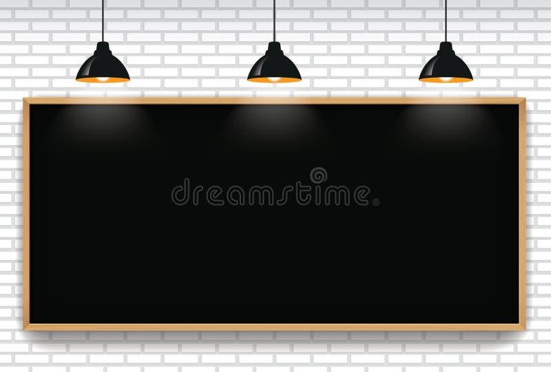 空白的黑板在与3垂悬的l的白色砖墙背景中 皇族释放例证