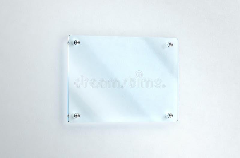空白的玻璃标识牌在墙壁大模型,裁减路线登上了 库存例证