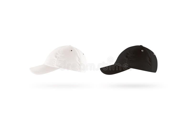 空白的黑白棒球帽大模型集合,描出侧视图 免版税库存照片