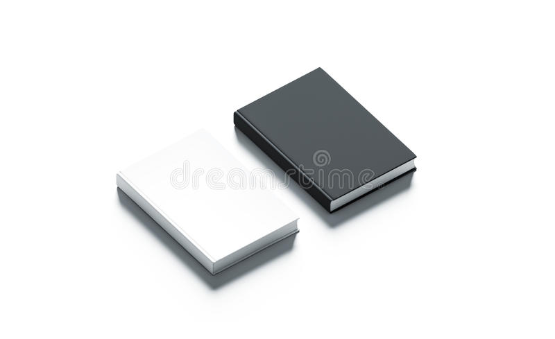 空白的黑白精装书嘲笑集合 图库摄影