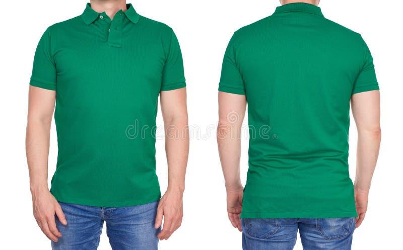 空白的绿色球衣的人从在前后 免版税库存图片