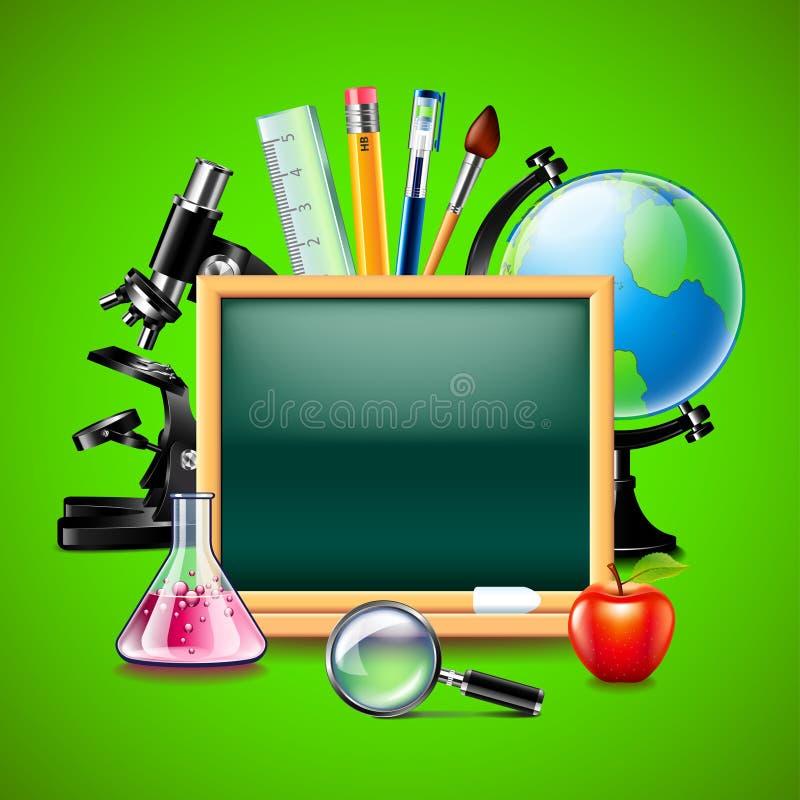 空白的绿色黑板和其他学校工具 向量例证