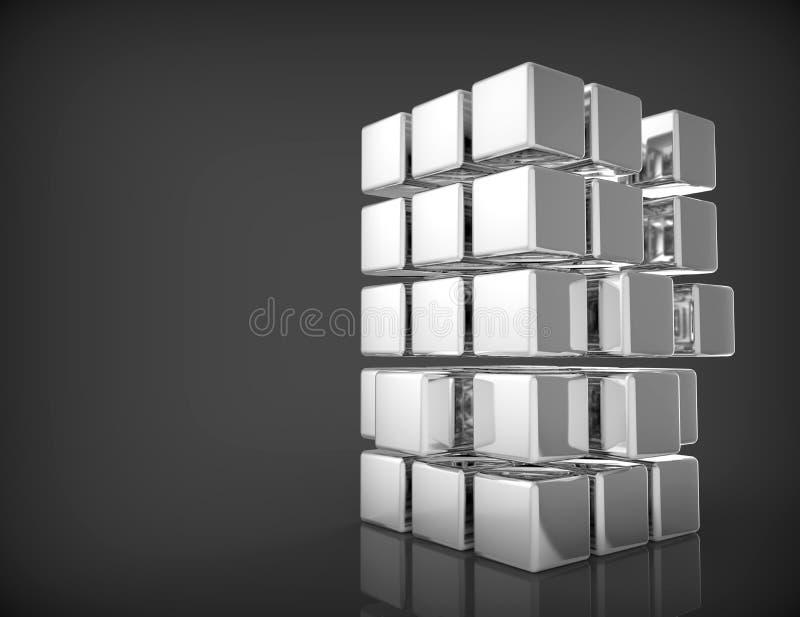 空白的3d立方体 向量例证
