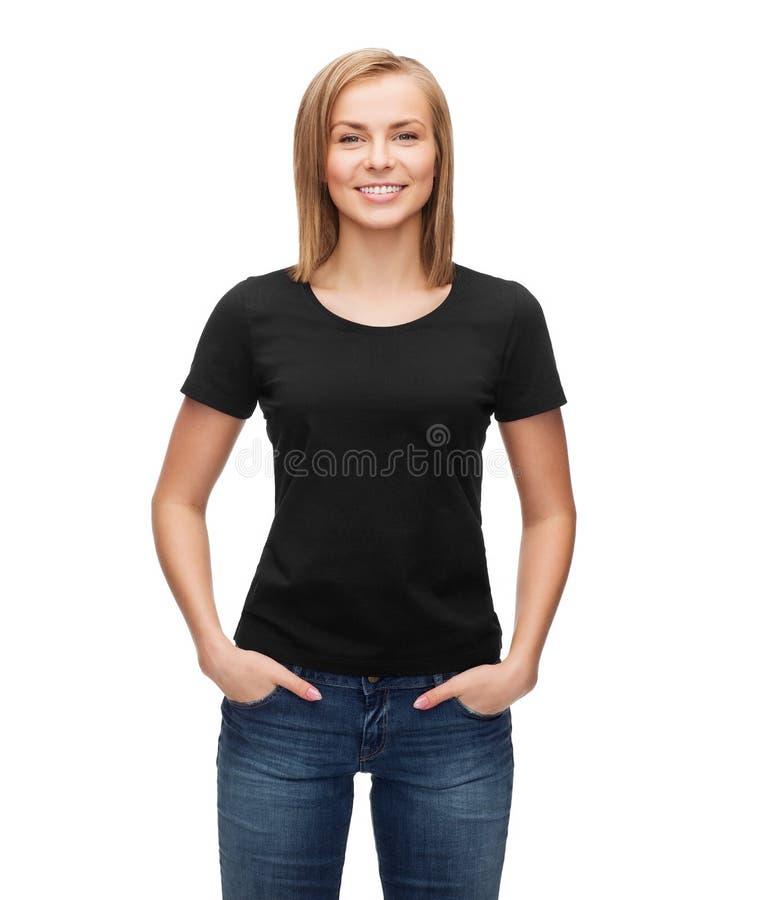 空白的黑T恤杉的妇女 免版税库存图片