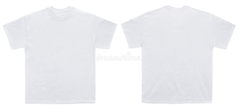 空白的t恤杉颜色白色模板前面和后面视图