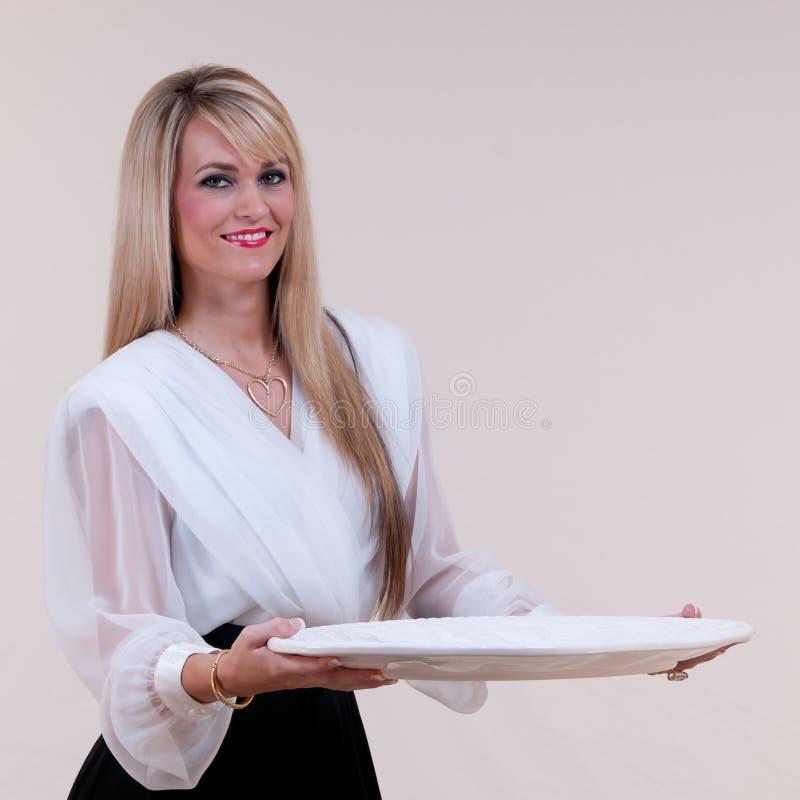空白盛肉盘女服务员 图库摄影