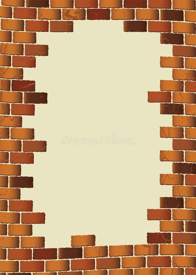 空白砖褐色grunge墙壁 向量例证