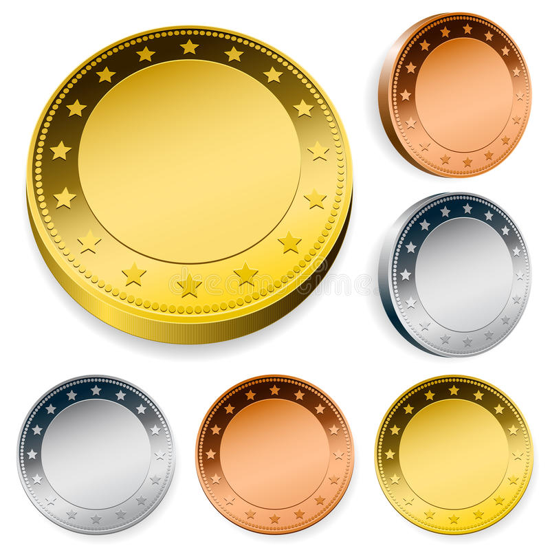 空白硬币复制集合空间标记 向量例证