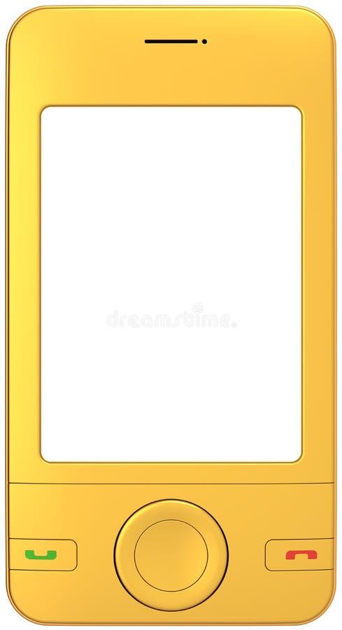 空白移动电话金黄移动电话屏幕 皇族释放例证