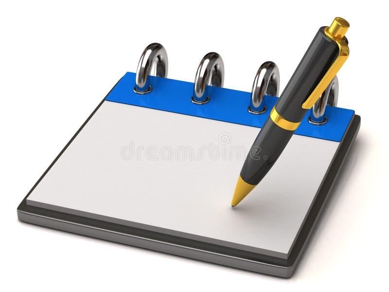 空白笔记本笔 库存例证