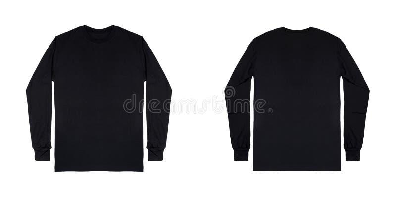 空白简单的黑长袖T恤杉在白色背景隔绝的前面和后面看法 免版税库存图片