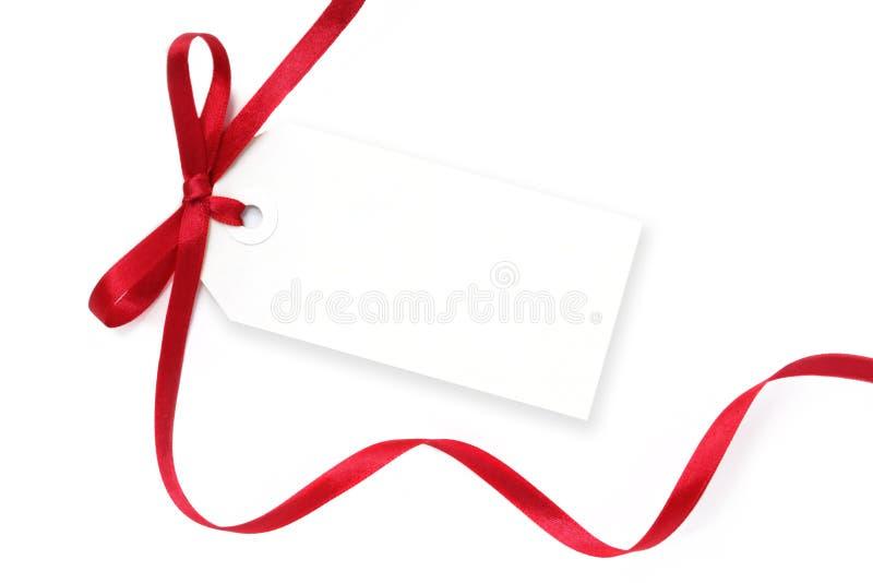 空白红色丝带标签 库存图片
