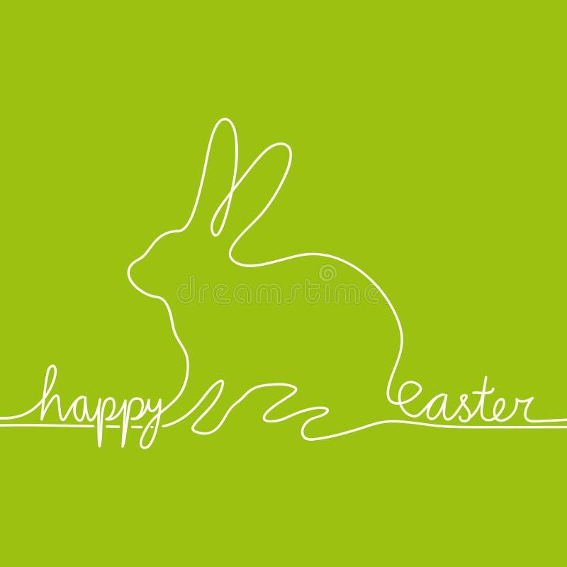 空白线路塑造野兔的读的复活节快乐 库存例证