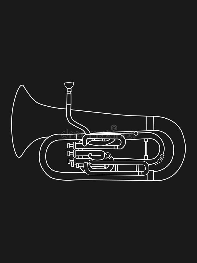 空白线路次中音号乐器例证等高图画  向量例证