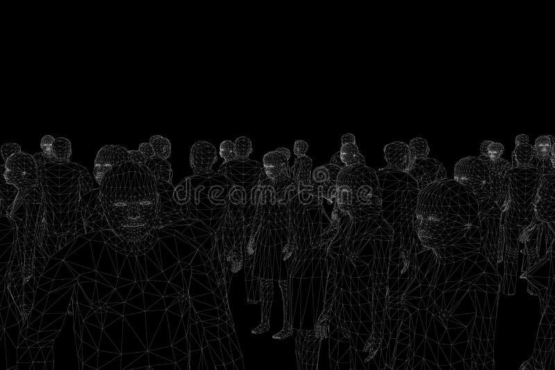 空白线路的Wireframe多角形人民在黑背景的 站立用不同的位置的人人群  向量例证
