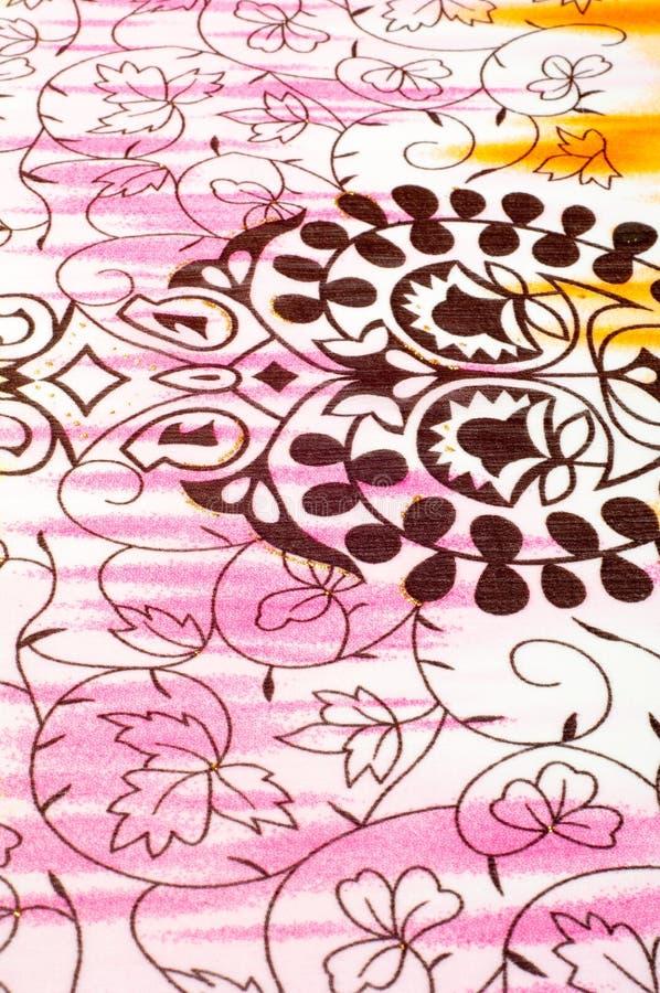 空白织品纹理 桃红色,黄色和棕色样式 库存照片